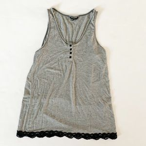 Christian Soriano Large tank top grey w/black lace